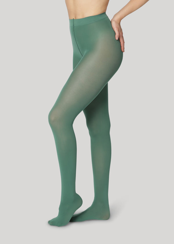 The Rebecca 50 denier in Dark Green is the classical medium coverage tights made using only recycled materials and 3D knitting technology for durability and longevity.