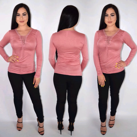Tie Me Up Top - Blush Pink - Small