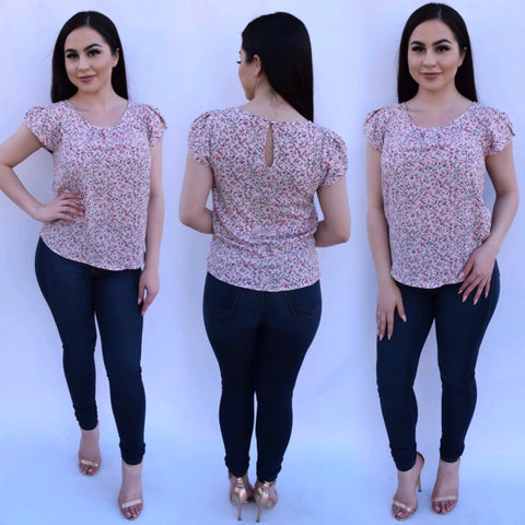 Everyday Floral Top - Pink - Small