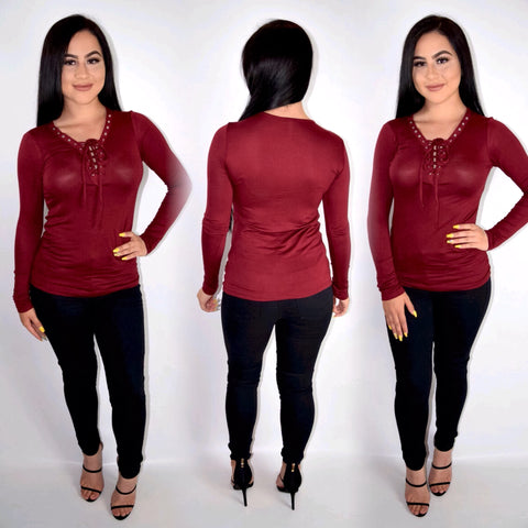 Tie Me Up Top - Burgundy - Small