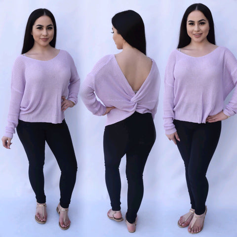 Knotted Sweater Top - Lavender