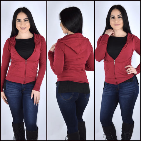 Basic Hoodie - Dark Red (Plus Size)