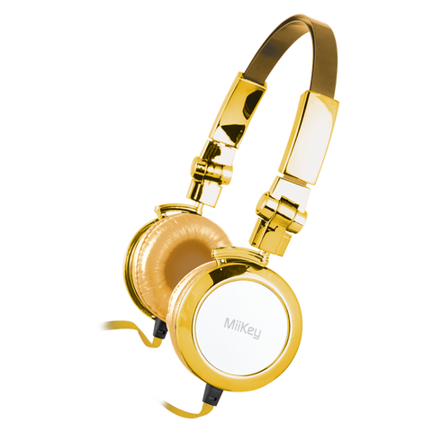 MiiKey MiiBling Gold Aluminum Headphone with Microphone & HD Audio