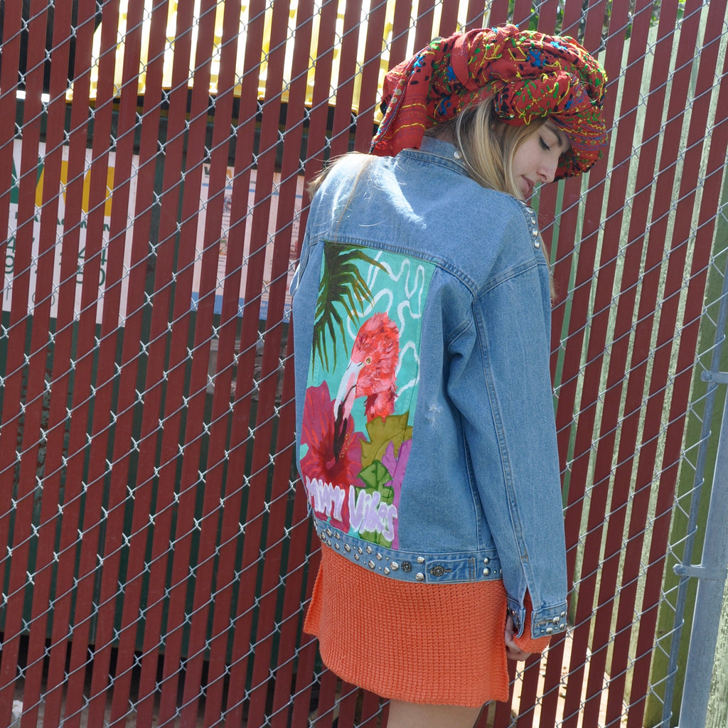 Hand Painted Miami ViBes Denim Jacket