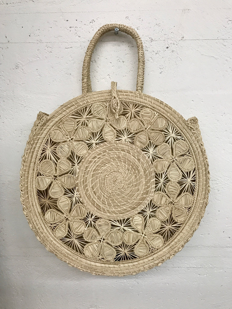 Round Straw Shopping Basket