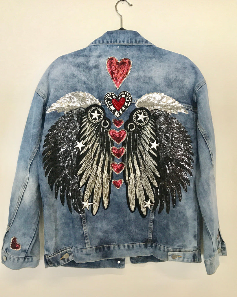 Chakras Denim Jacket Black Wings Oversized Fit