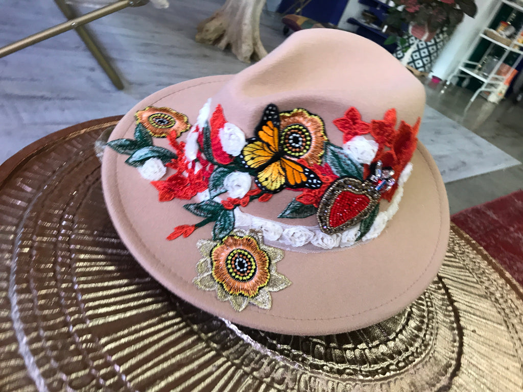 Mad Hatter Butterflies COLLAGE ART HAT