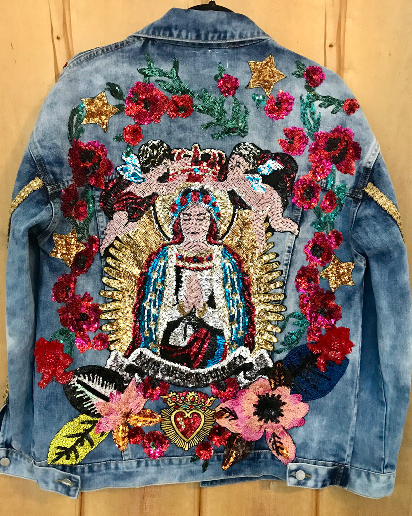 Angels Blessing Mother MARY Denim Jacket. OVERSIZED FIT