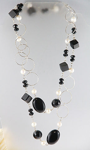Onyx & Pearl Necklace