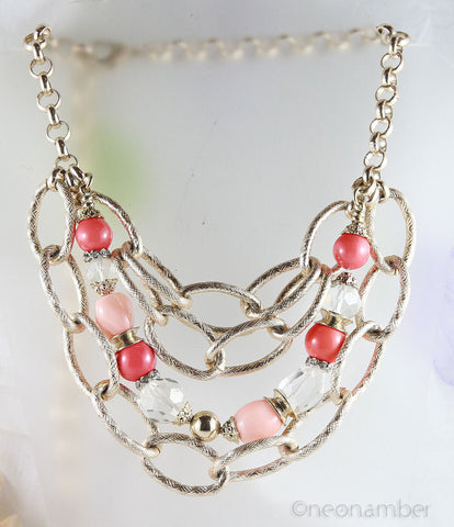 Multi-strand Peach Necklace