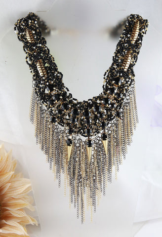 The Jet Crystal Fringe Collar