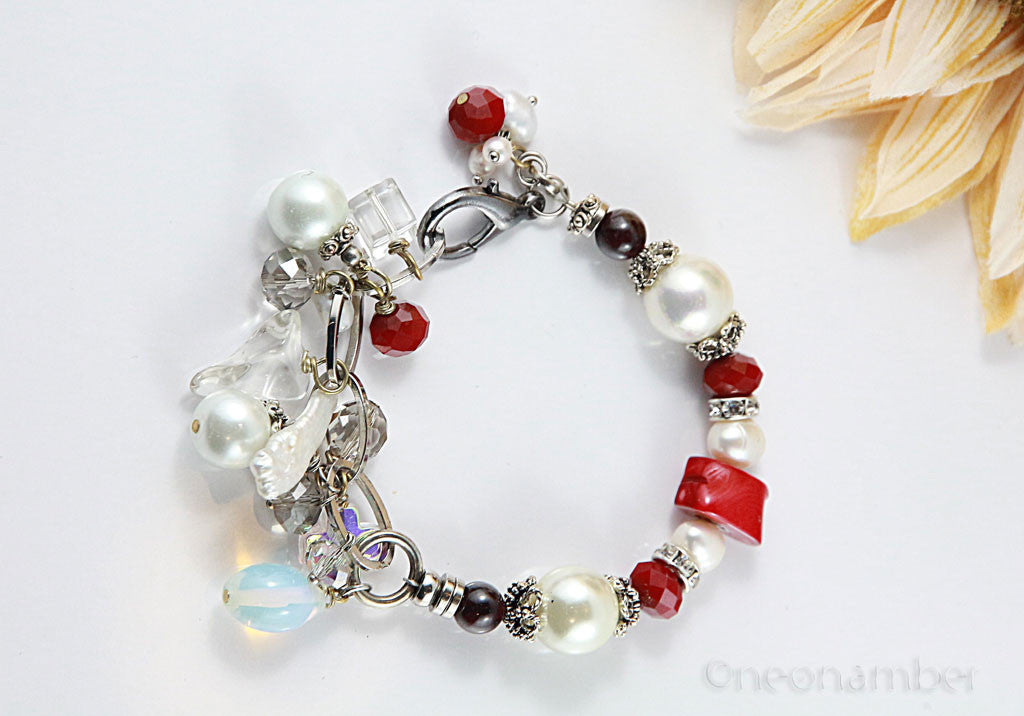 Pearl & Red Colar Charm