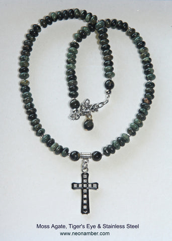 Steel Cross & Moss Agate