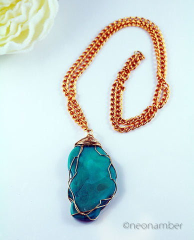 Wired Turquoise Necklace
