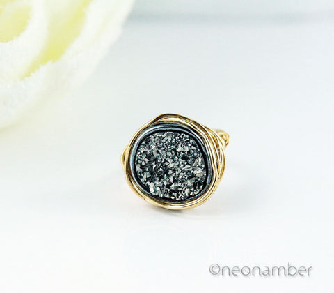 Black Druzy Dreams Ring