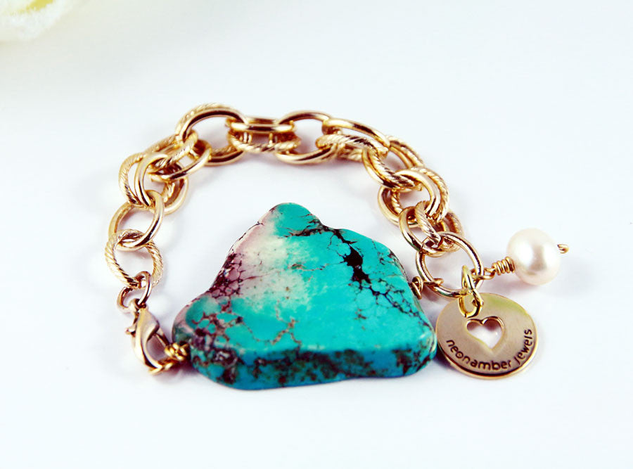 Chunky Turquoise & Chain Bracelet