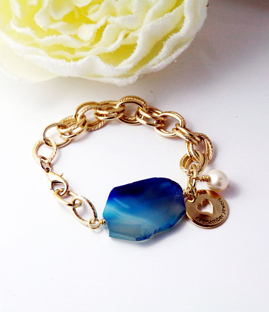 Blue Lace & Chain Bracelet