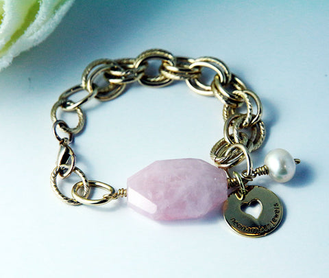 Rose Quartz Chain Bracelet