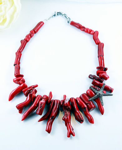 Red Sea Coral Statement Necklace