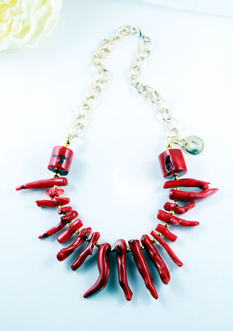 Bamboo Coral Statement Necklace