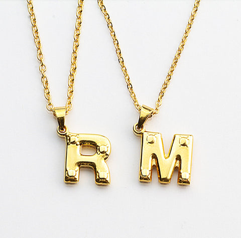Gold Letter Initials Necklace