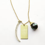 Crescent Moon and Pearl Tag Necklace