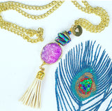The Lilac Druzy Tassel Necklace