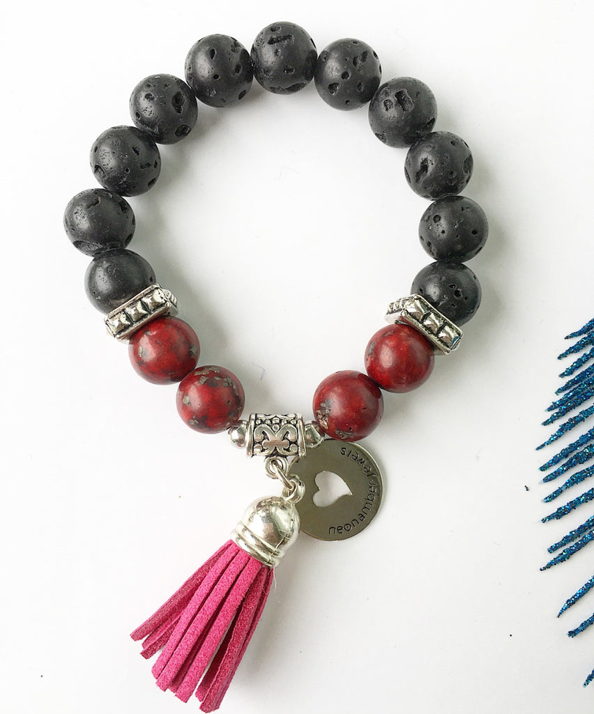 The Lava and Jasper Tassel Bracelet