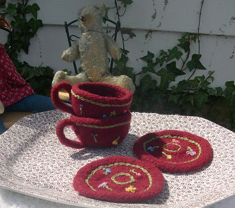 Knitted/Felted Teacups and Saucers