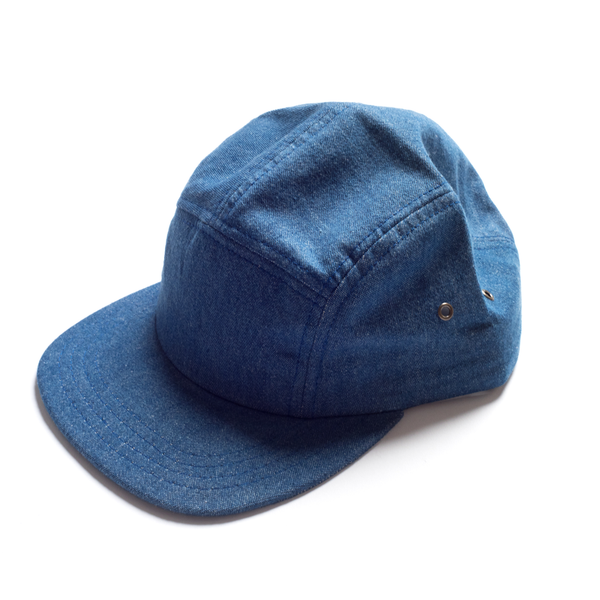 MEYVN 5 PANEL CAMP CAP IN DENIM, LIGHT INDIGO, NS