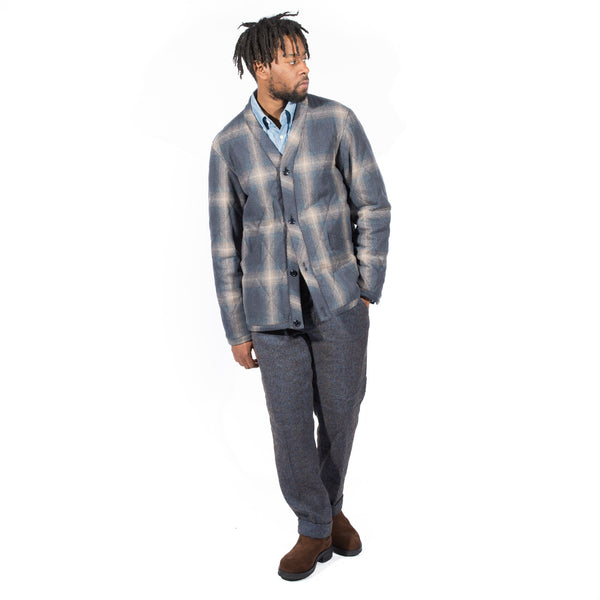 TS(S) OMBRE PLAID WOOL NYLON CLOTH QUILTED CARDIGAN JACKET