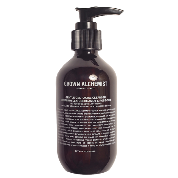 GORWN ALCHEMIST GENTLE GEL FACE CLEANSER, GERANIUM LEAFE, BERGAMONT & ROSE-BUD, 200ML
