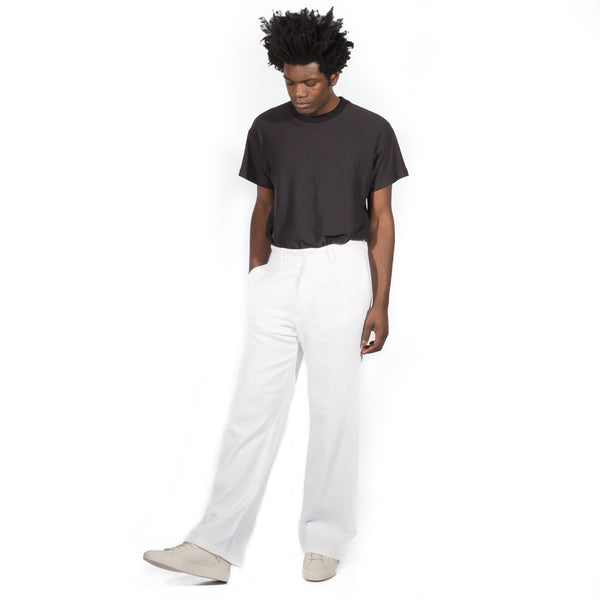 EIDOS COTTON/LINEN SLUB CANVAS SINGLE PLEAT CHINO