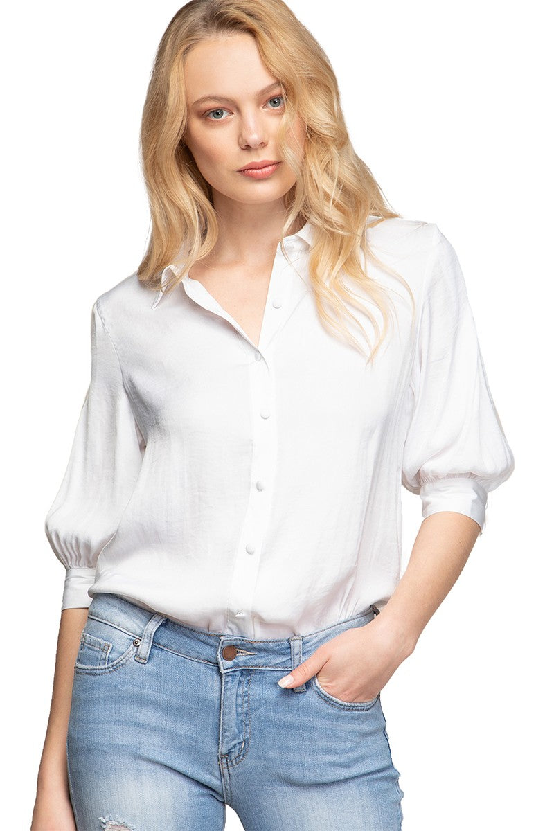 Short Cuffed Blouson Sleeve Blouse - Off White