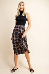 A Line Chain Printed Midi Skirt - Navy
