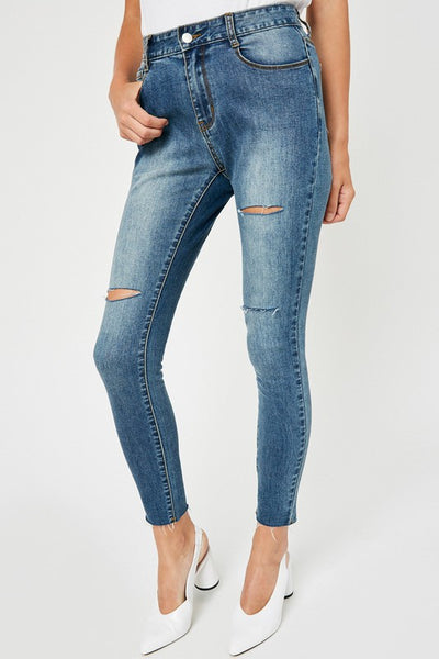 Distressed High-Rise Stone Wash Jeans - Mid Denim