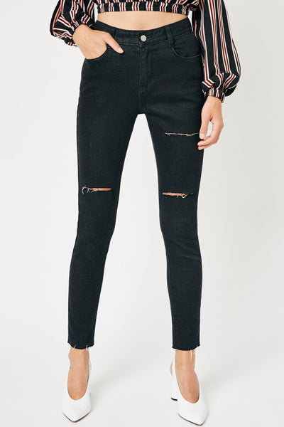 Distressed High-Rise Stone Wash Jeans - Black Denim