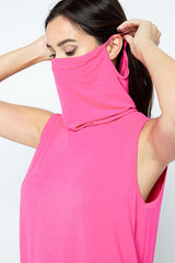 Top with Face Covering - Neon Pink ONLY 1 SMALL LEFT