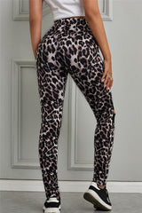 Leopard Leggings with Lace Cut Out