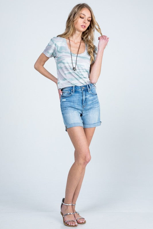 High Rise Destroyed Denim Shorts - Medium