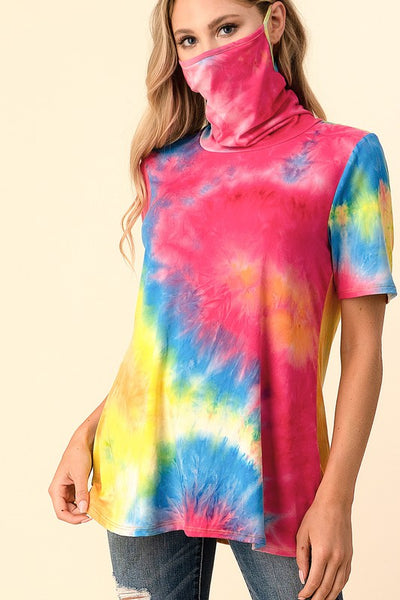 Short Sleeve Top with Face Covering - Rainbow