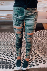 Camo Print Stretch Pants with Distressed Cut Outs