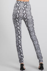 Snake Skin High Waist Leggings - Grey
