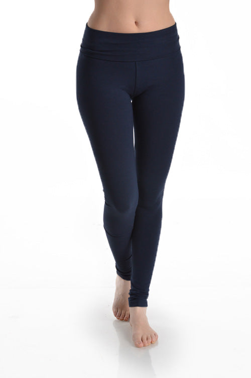 Basic Elastic Waistband Long Leggings - Navy
