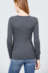 Long Sleeve V-Neck Thermal Top - Charcoal