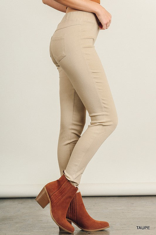 Leggings with Elastic Waistband - Taupe