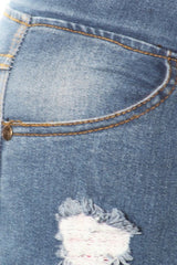 Denim Jeggings w/ ripped legs & dark washed patch shape - Denim Blue