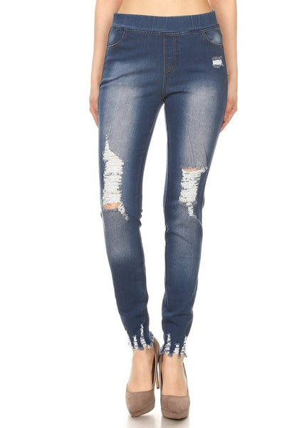 Denim Jeggings with ripped details and raw edge bottom - Denim Blue