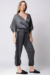 Fez Surplice Top - Charcoal Satin