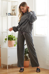 Straight Leg Lounge Pants - Charcoal Grey